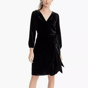 NWT J. Crew Wrap Dress In Drapey Velvet Black